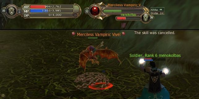 Cleric and Ranger vs. lvl32 Merciless Vampiric Viver (Eracus Underground Temple)